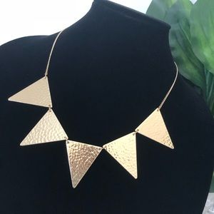Express gold textured triangle necklace